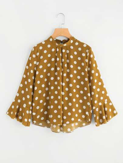 Fluted Sleeve Polka Dot Pleated Front Blouse