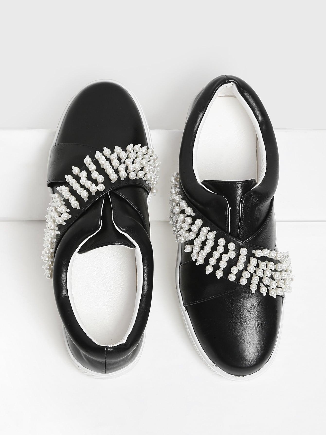Faux Pearl Slip On Sneakers faux pearl detail slip on plimsolls