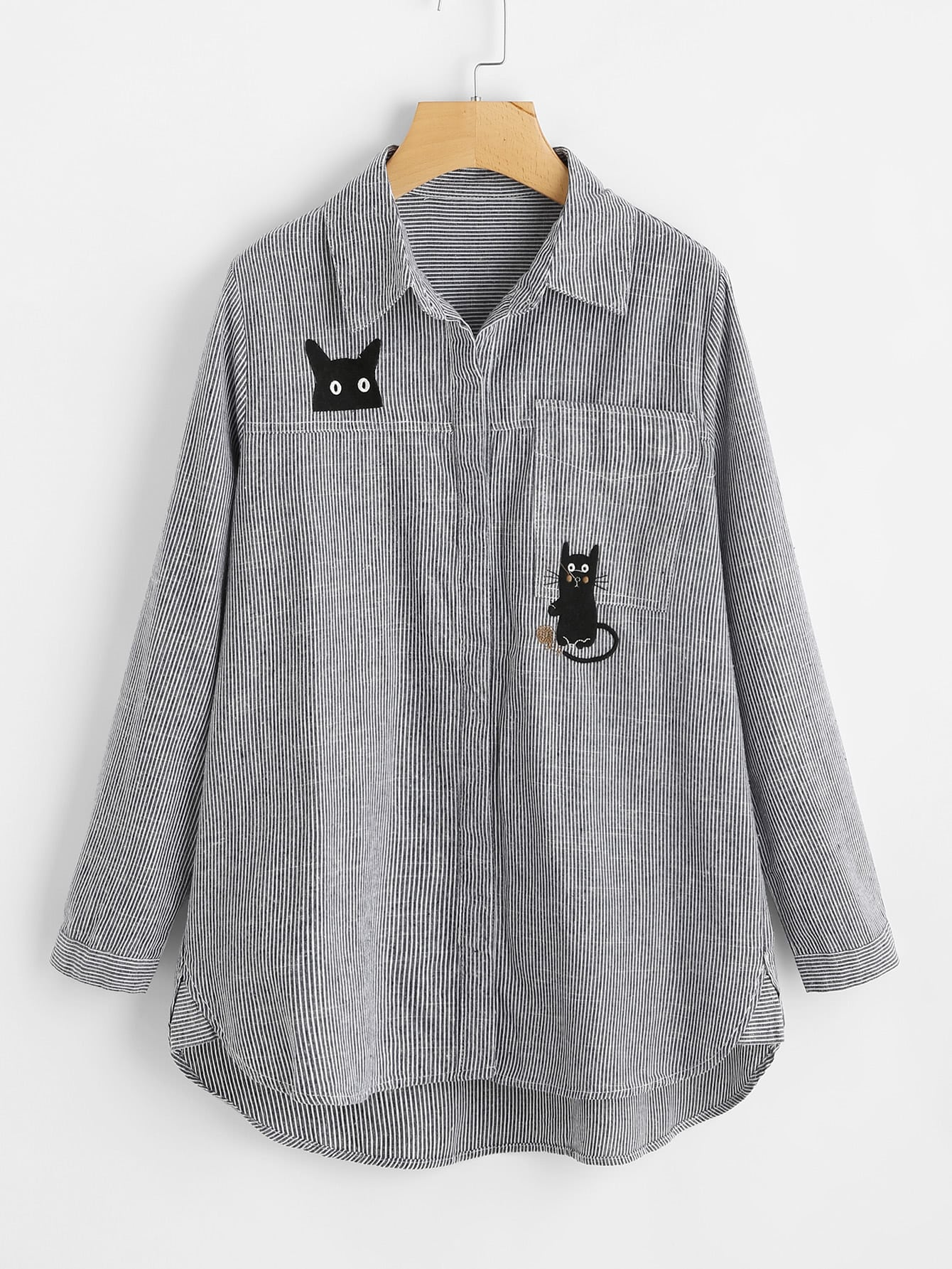 Cat Embroidery Dolphin Hem Striped Blouse ruched sleeve dolphin hem floral blouse