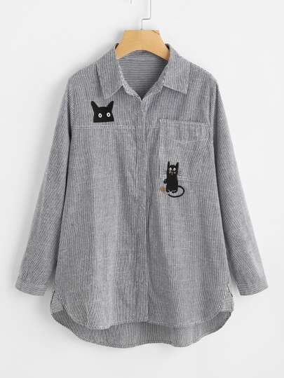 Cat Embroidery Dolphin Hem Striped Blouse