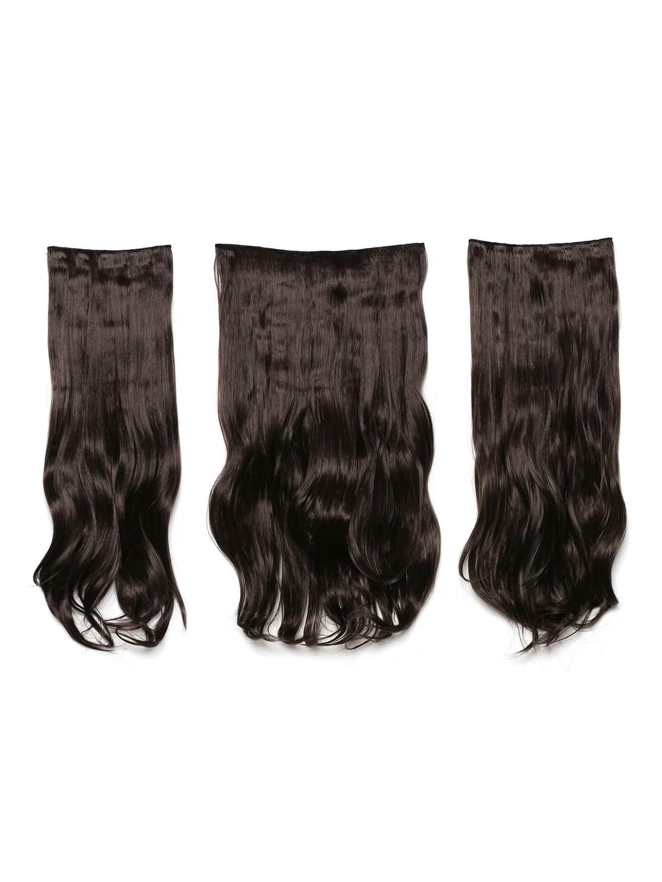 цена на Choc Brown Clip In Soft Wave Hair Extension 3pcs