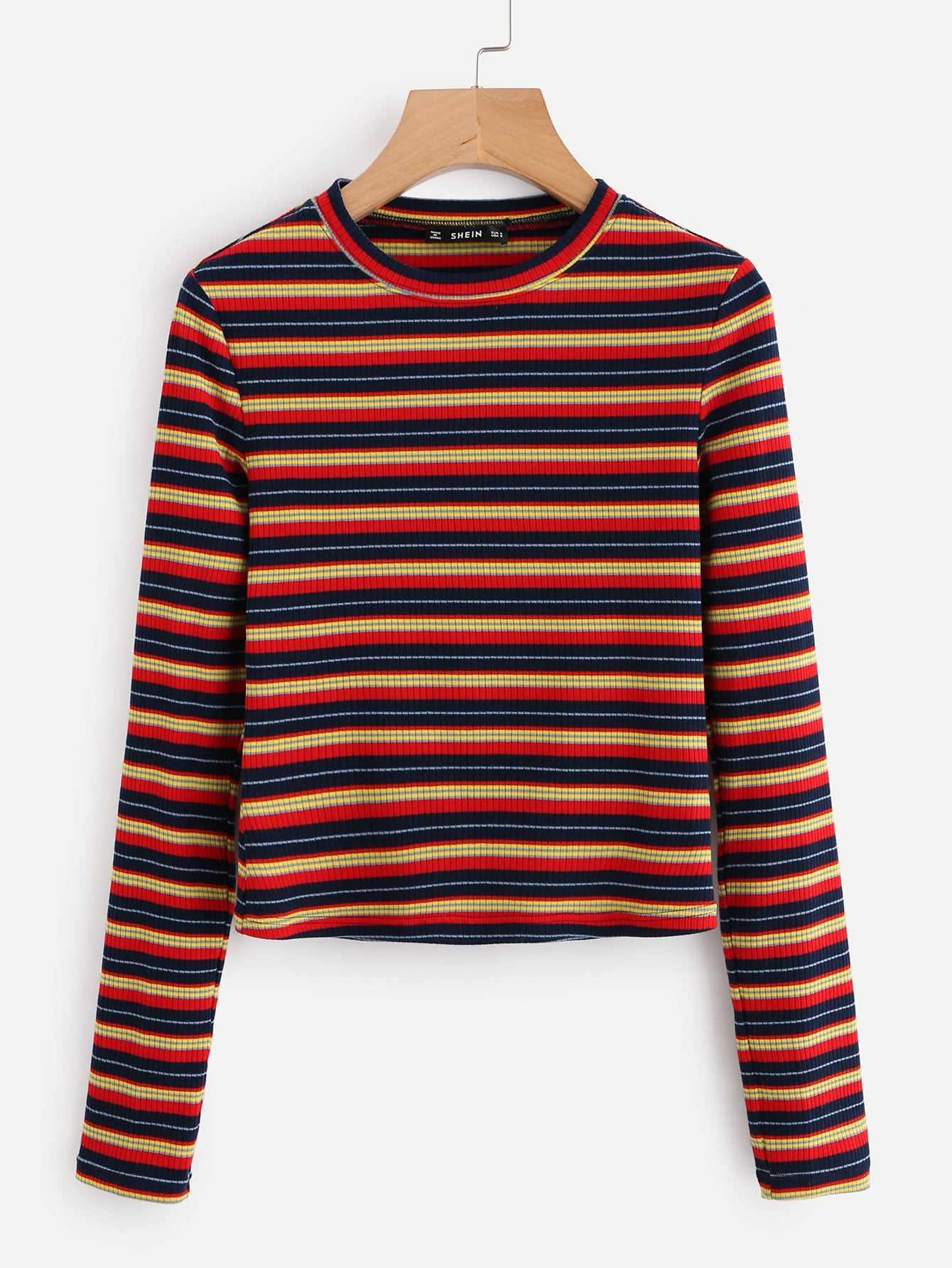 Colorful Striped Ribbed Tee tee171010707