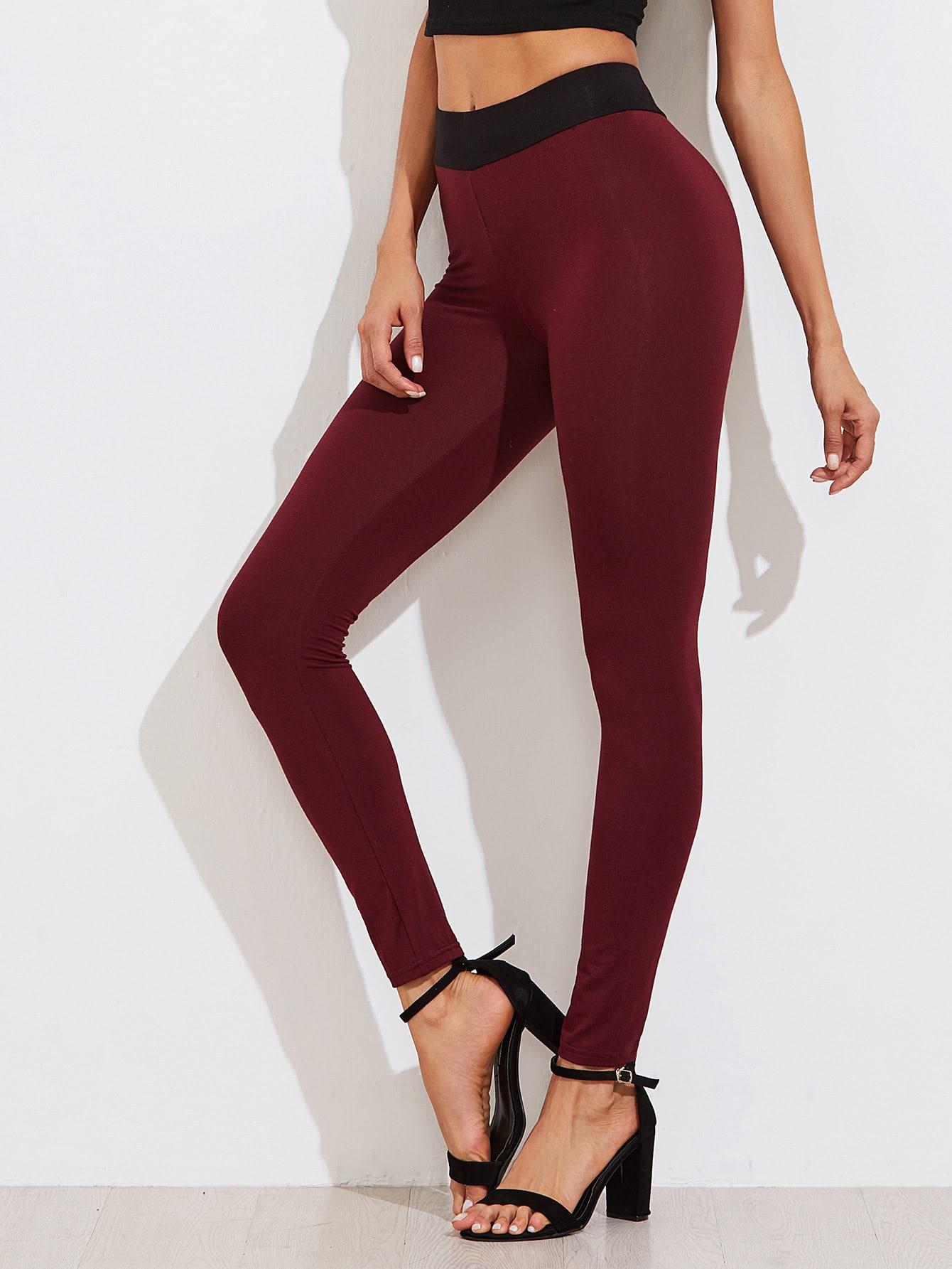 Contrast Waist Skinny Leggings empire skinny leggings