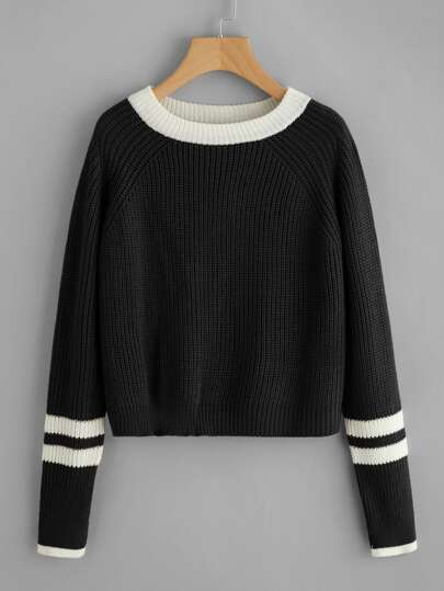 Striped Contrast Trim Knit Sweater