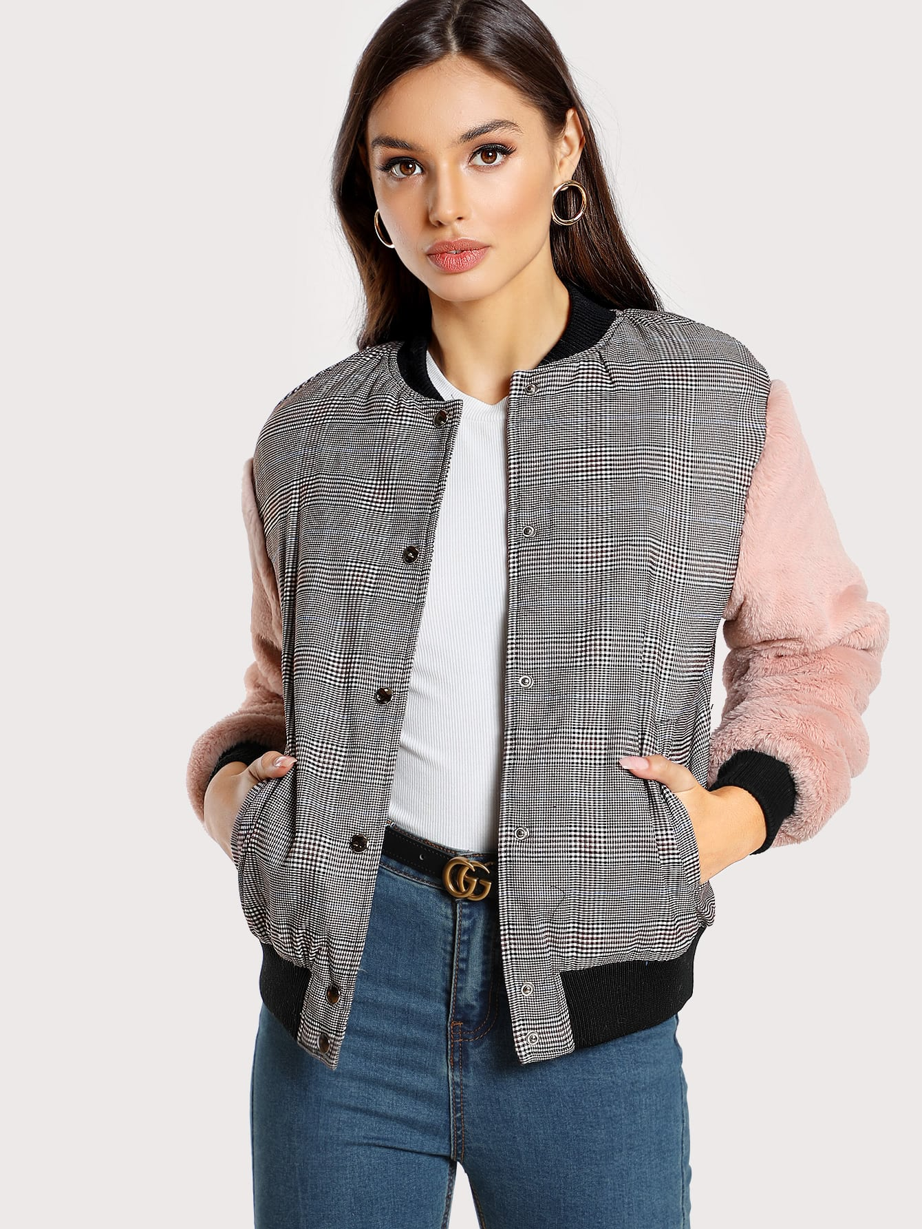 Fuzzy Sleeve Drop Shoulder Mixed Media Jacket drop shoulder bishop sleeve fuzzy jumper