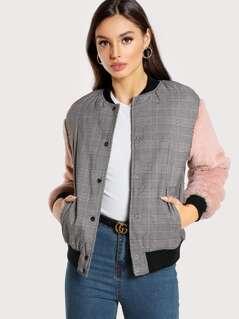 Fuzzy Sleeve Drop Shoulder Mixed Media Jacket
