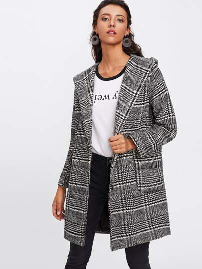 Houndstooth Dual Pocket Plaid Hooded Coat
