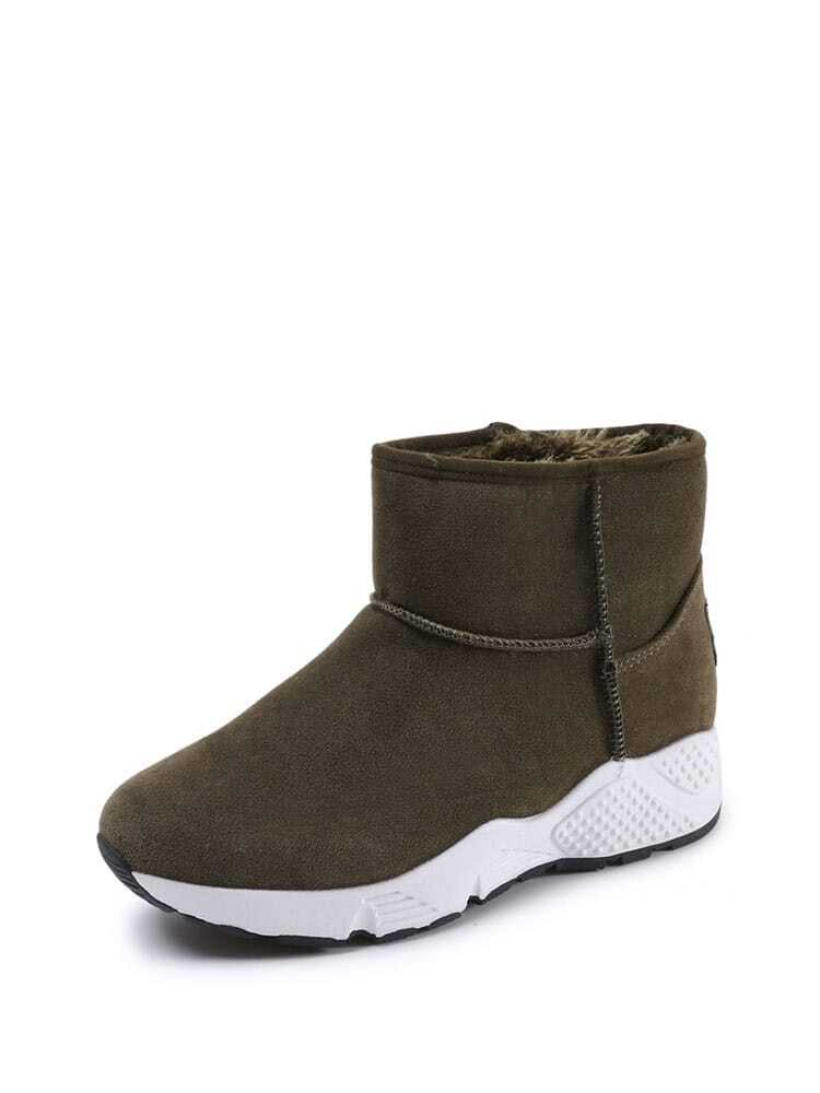 Suede Faux Fur Lined Snow Boots