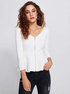 Zip Up Quilted Peplum Top
