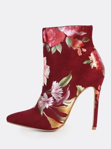 Floral Print Point Toe Ankle Booties WINE