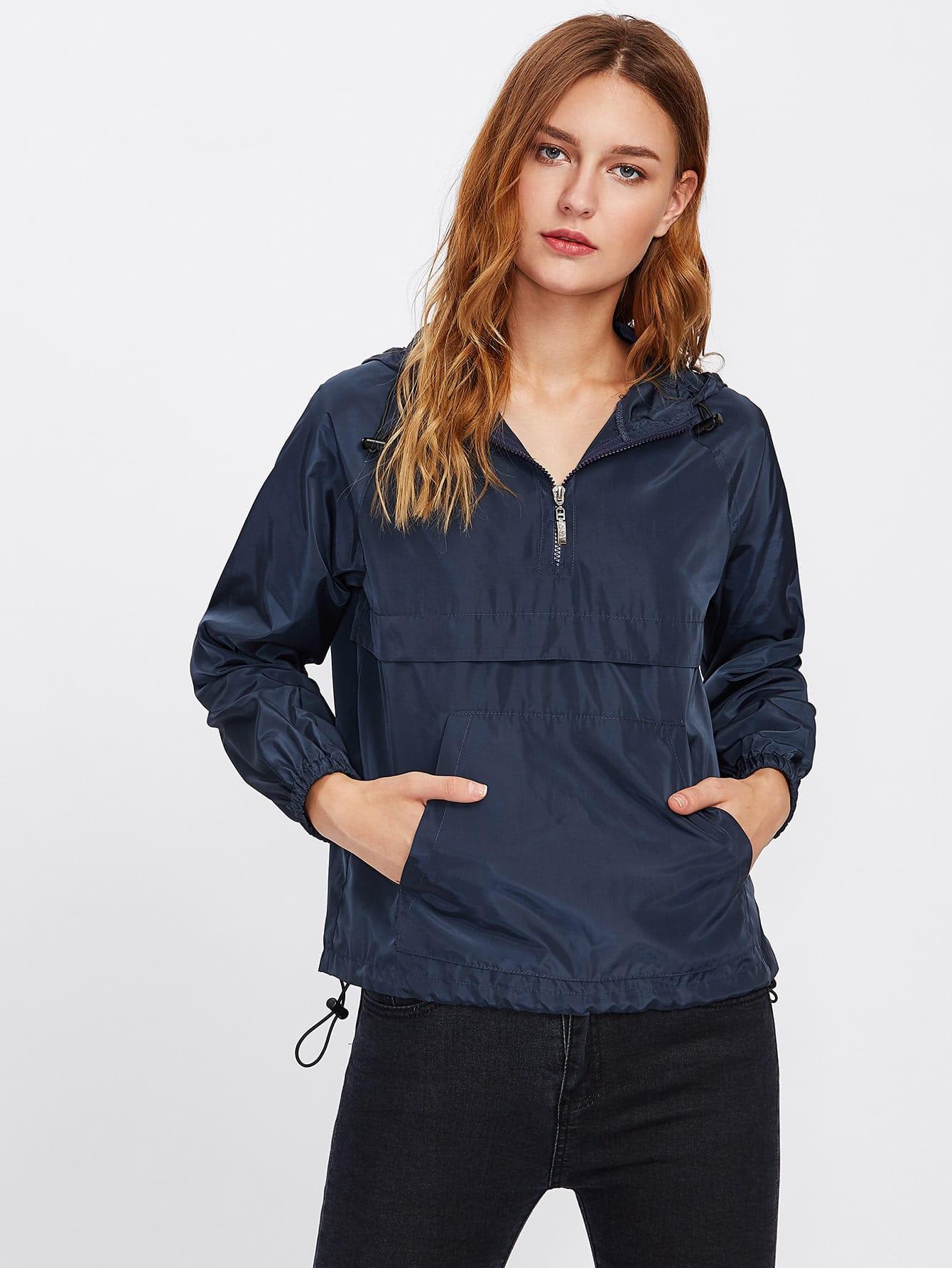 Pocket Front Drawstring Hem Hooded Windbreaker Pullover tree print drawstring hem hooded blouse