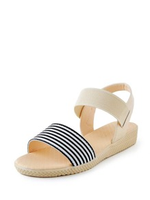 Striped Open Toe Flat Sandals