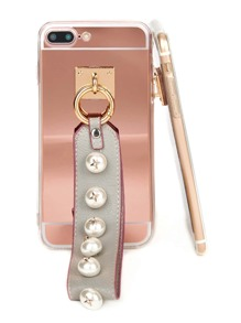 Faux Pearl Embellished Strap Phone Case