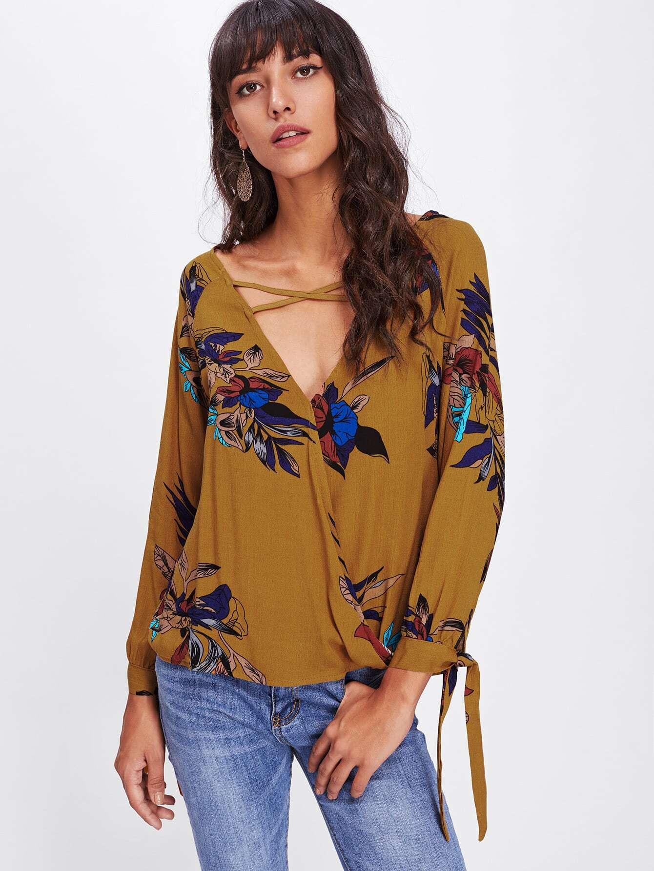 Surplice Neckline Crisscross Tie Cuff Blouse crisscross surplice neckline tie detail tropical print blouse
