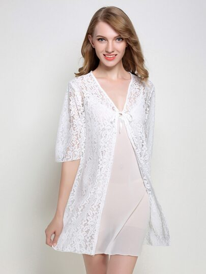 Lace Overlay Slips With Floral Lace Robe