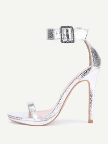 Two Part Ankle Strap Stiletto Sandals
