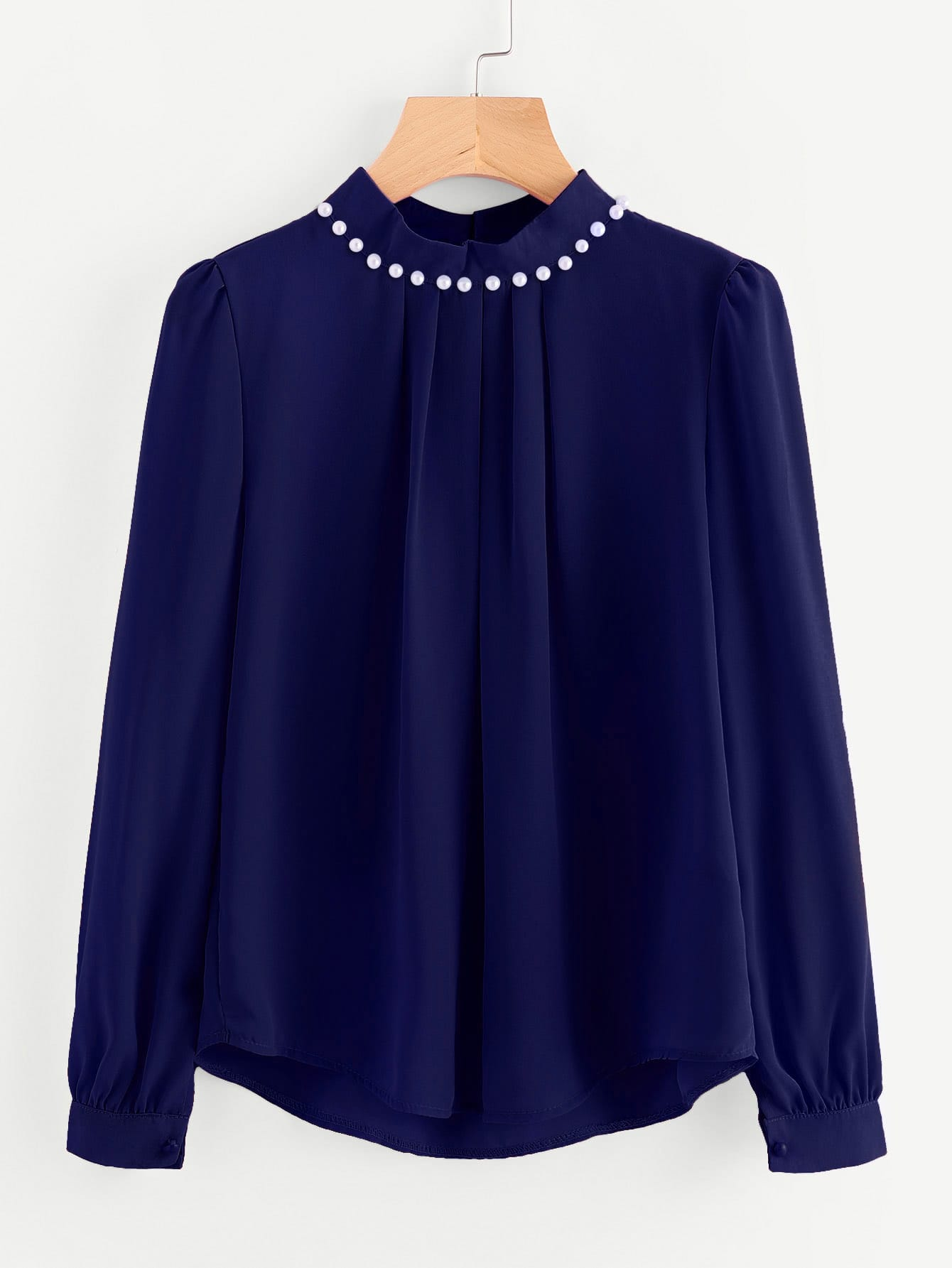 Pearl Beading Puff Sleeve Chiffon Blouse pearl beading layered sleeve top