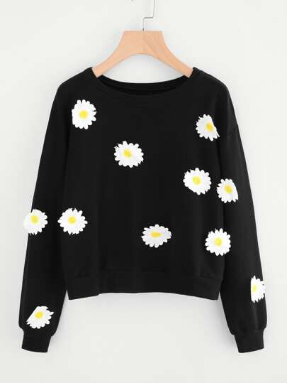 Flower Embroidered Patch Sweatshirt
