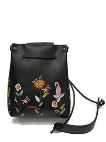 Flower Embroidered Flap PU Crossbody Bag
