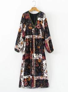 Floral Print Patchwork Midi Dress