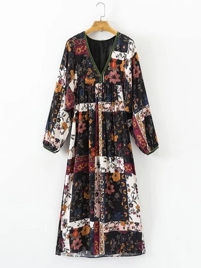 Floral Print Patchwork Midi Dress