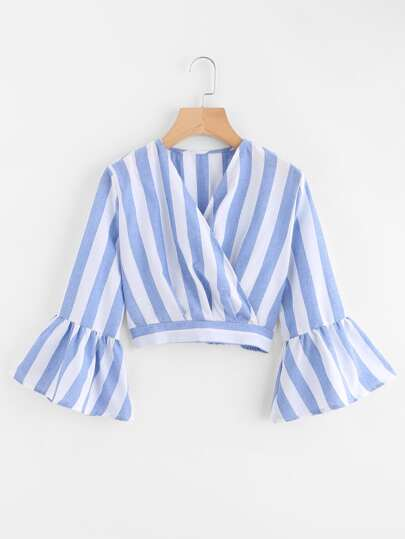 Bell Sleeve Striped Wrap Top