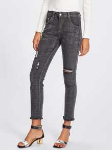 Studded Ripped Raw Hem Jeans
