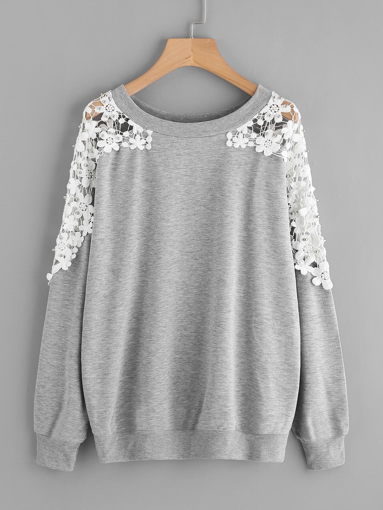 все цены на Lace Panel Beaded Sweatshirt