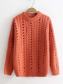 Cable Knit Pointelle Sweater