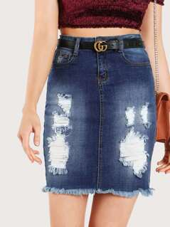 Distressed High Rise Skirt DENIM