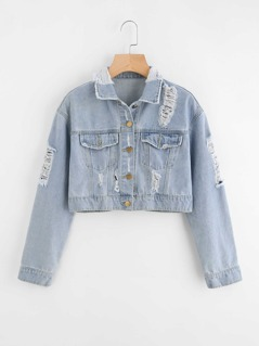 Faded Wash Crop Destroyed Denim Jacket