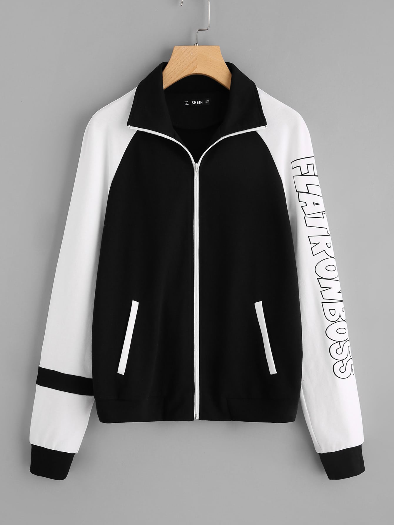 Two Tone Raglan Sleeve Jacket