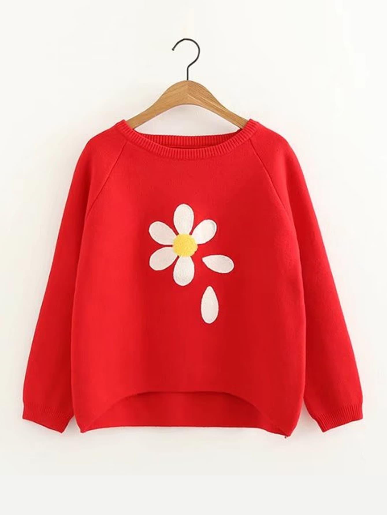 Pullover mit Raglan Ärmeln, abfallendem Saum und Blumen