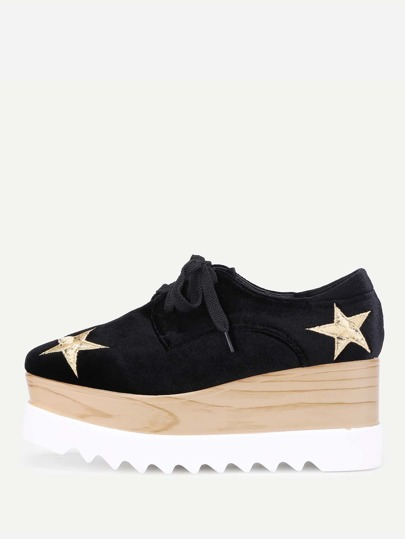 Star Embroidery Lace Up Velvet Wedges