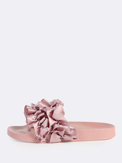 Satin Ruffle Band Slides MAUVE