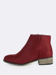 Round Toe Faux Suede Zipper Boots BURGUNDY