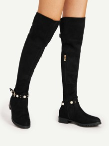Faux Pearl Strap Detail Flat Boots