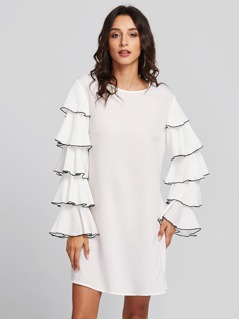 Contrast Tipping Layered Bell Sleeve Longline Top