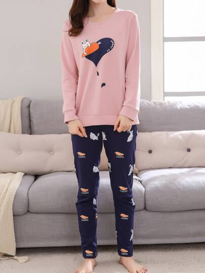 Cartoon Print Pullover & Pants Pj Set