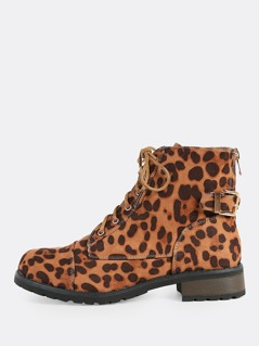 Tie Up Leopard Print Combat Boots LEOPARD