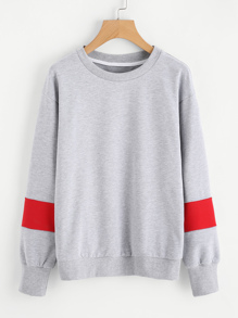Cut And Sew Sleeve Drop Shoulder Sweatshirt