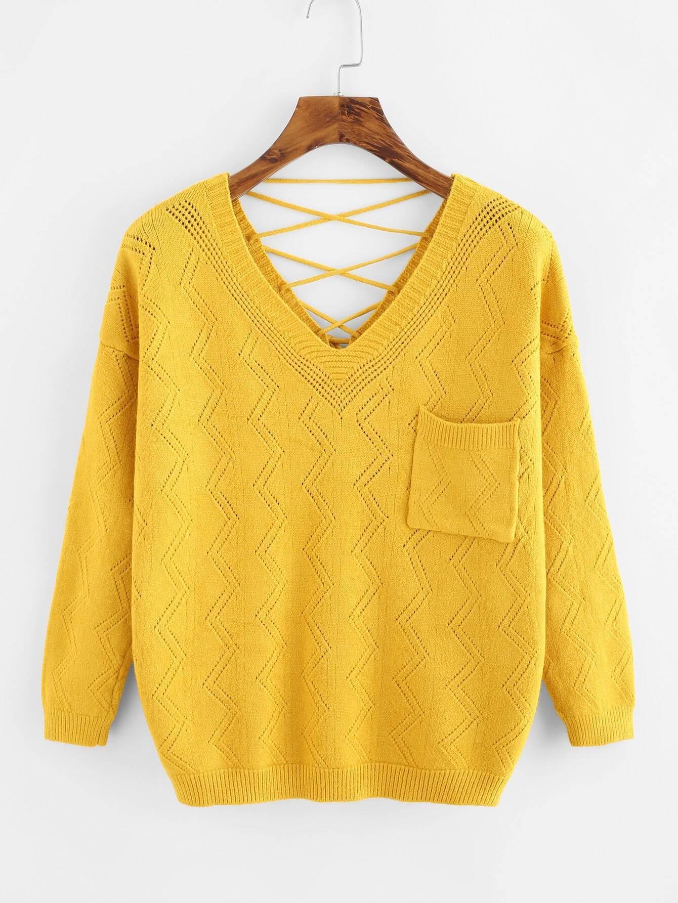 V Neckline Lace Up Chest Pocket Sweater