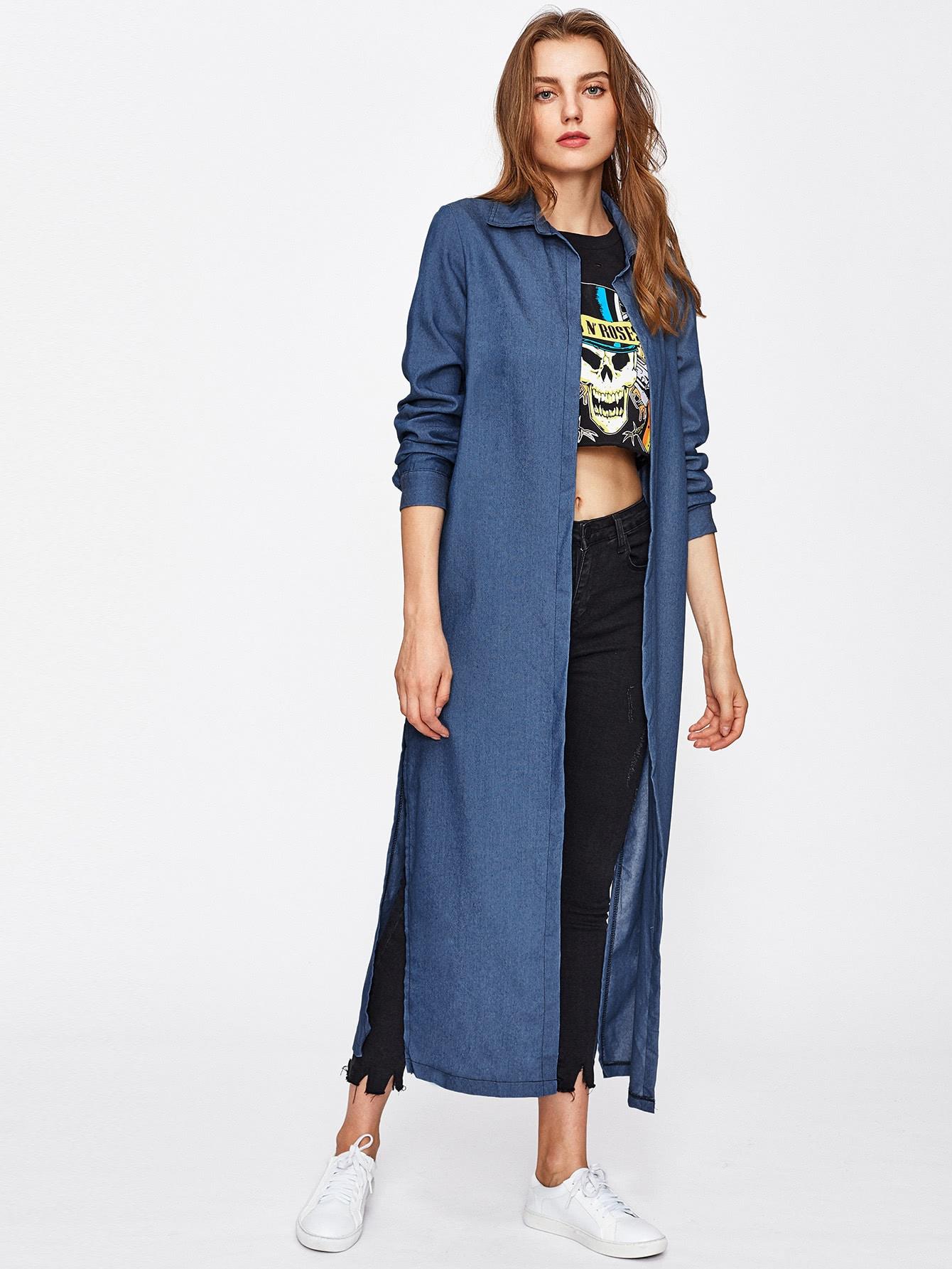 Slit Side Longline Chambray Coat