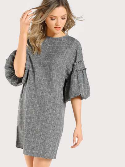Frilled Exaggerated Lantern Sleeve Grid Dress