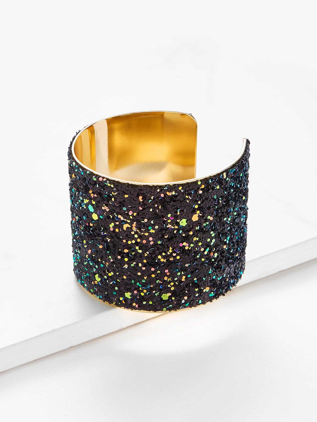 Sequin Overlay Wide Cuff Bracelet