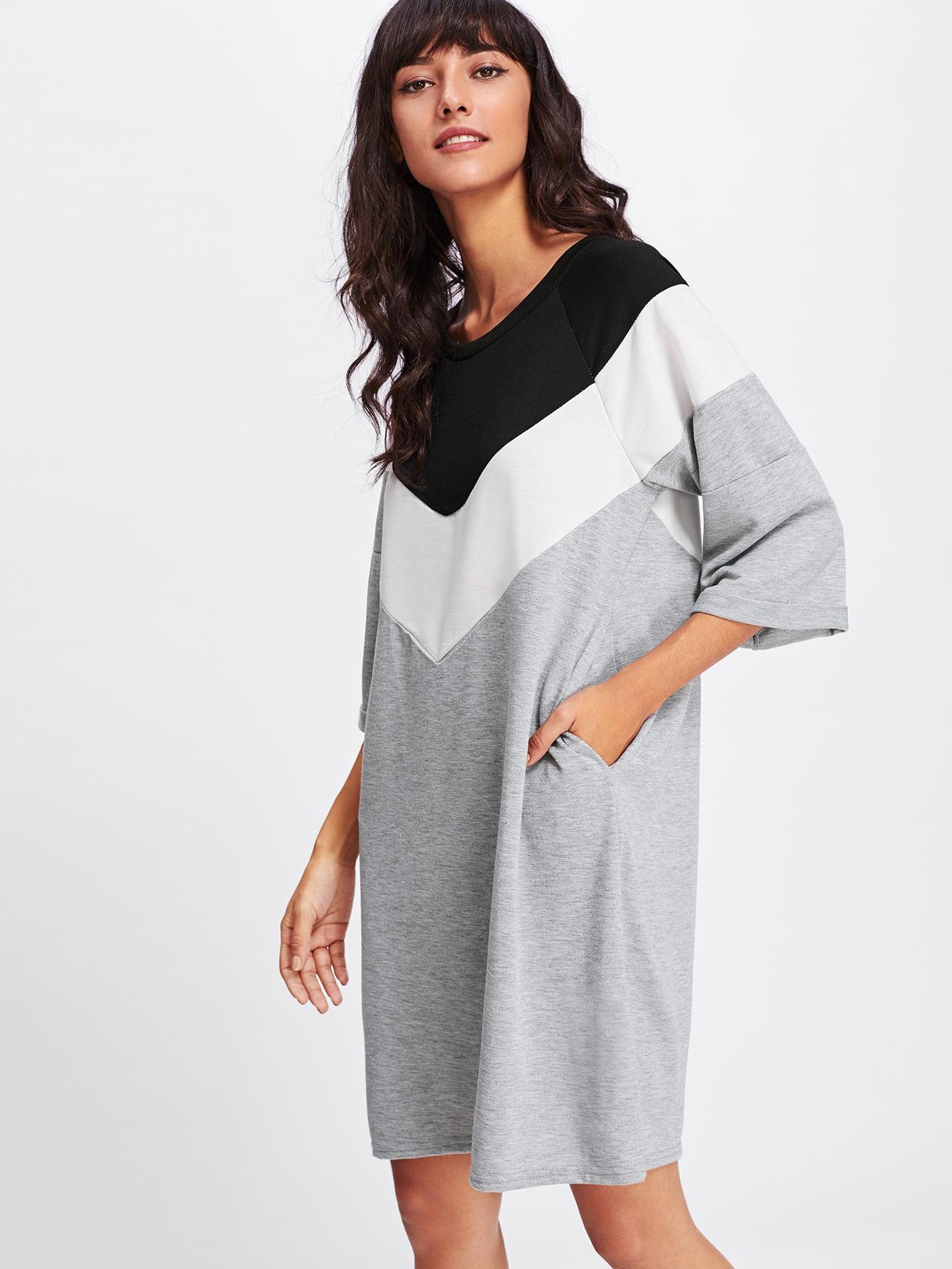 Sweatshirt Kleid mit weiten Streifen