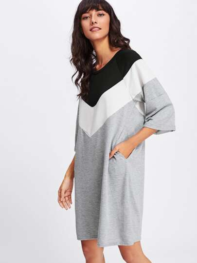 Robe Sweat-shirt rayure large bicolore