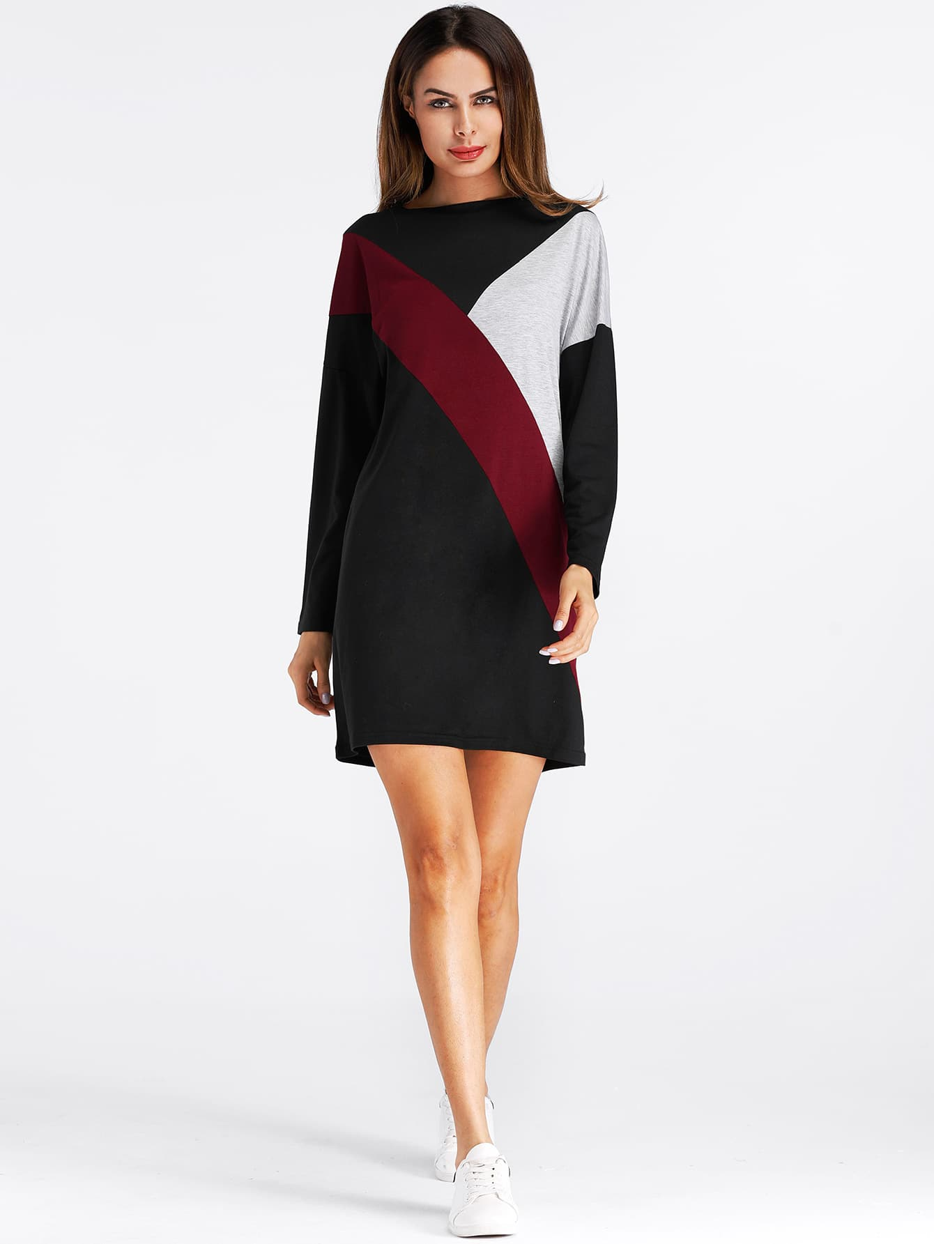 Cut And Sew Color Block Tee Dress cut and sew zip back pencil dress