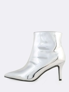 Plain Point Toe PU Bootie SILVER