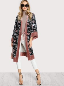 Contrast Trim Belted Floral Velvet Kimono